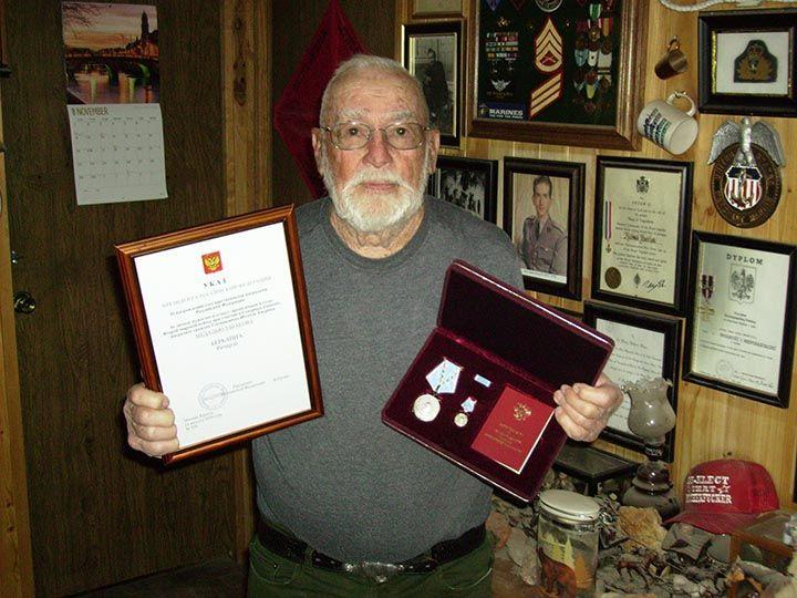 Ричард Бернбайн с медалью Ушакова